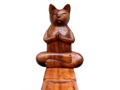 stojánek na vonné tyčinky kočka s kočkou kočičí s kočkami dřevěný 4