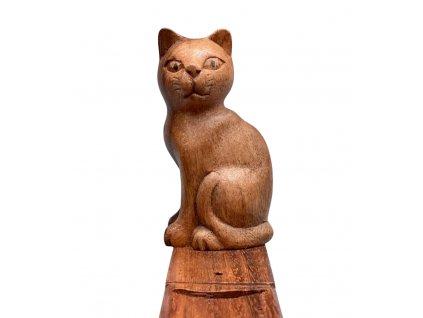 stojánek na vonné tyčinky kočka s kočkou kočičí s kočkami dřevěný 3