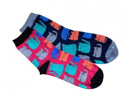 ponožky kočka s kočkou kočičí s kočkami růžová modrá