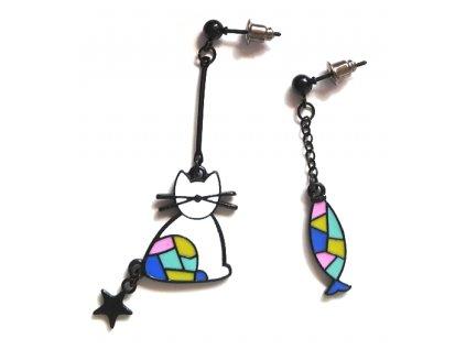 náušnice mozaika kočka ryba asymetrické 2