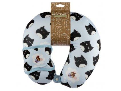 cestovní polštář maska na očí kočka s kočkou kočičí
