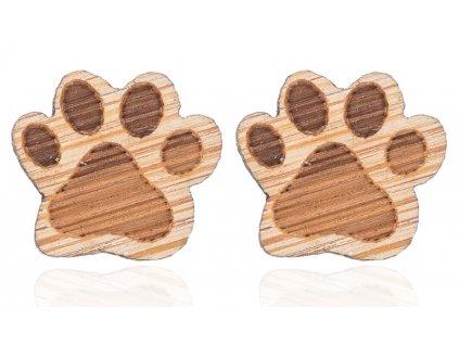 náušnice dřevěné kočičí tlapky 2