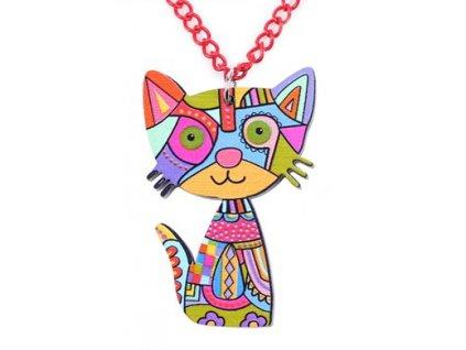kočičí náhrdelník kočka barevný