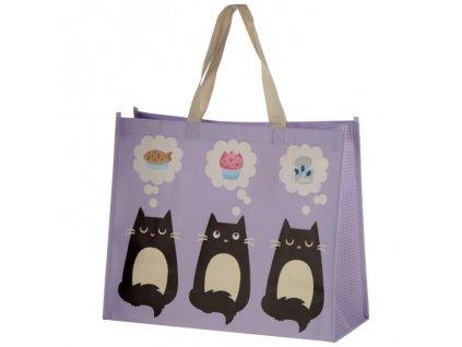 nákupní taška černá bílá kočka tři kočky 2