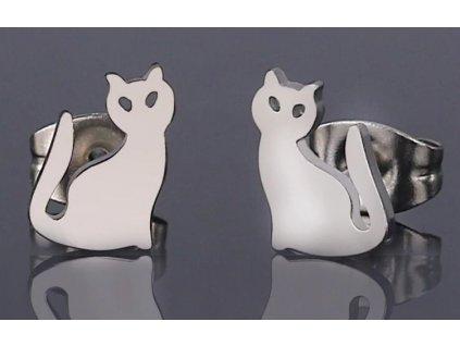 Ocelové náušnice kočka III