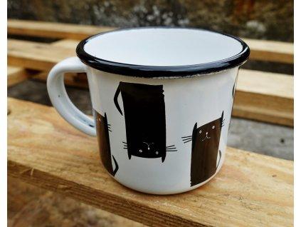 hrnek smalt plecháček černá kočka 3