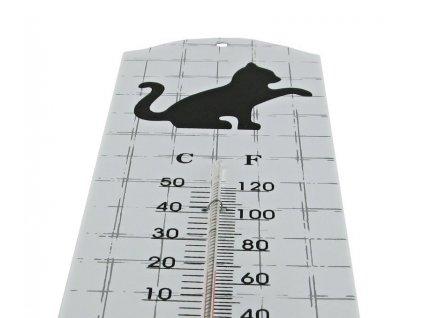 teploměr kočka s kočkou kovový venkovní vnitřní 2