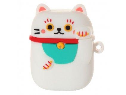 silikonové pouzdro na bezdrátová sluchátka kočka s kočkou kočičí maneki neko