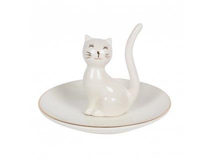pocerlánový stojánek na šperky kočka s kočkou kočičí