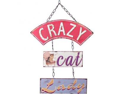 plechová cedule crazy cat lady kočka kočičí s kočkou