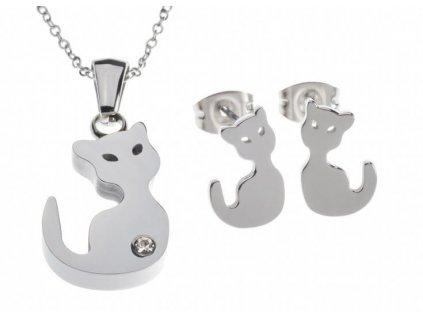 náhrdelník náušnice sada kočka kotě kočičí chirurgická ocel s kočkou