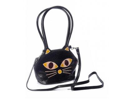 kabelka kožená kočka s kočkou kočičí černá