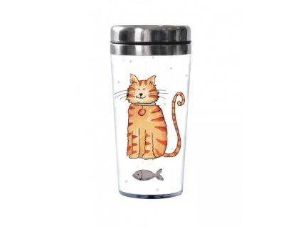 termohrnek kočka s kočkou kočíč nerez