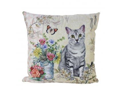 polštář kočka s kočkou kočičí malovaný mourovatá