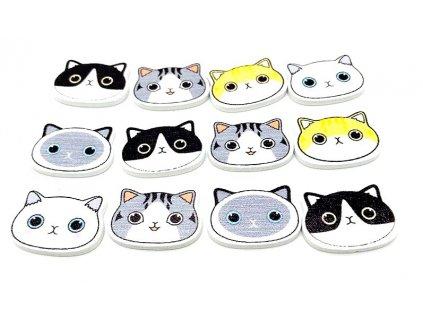 knoflíky kočka s kočkou kočičí hlavička mix