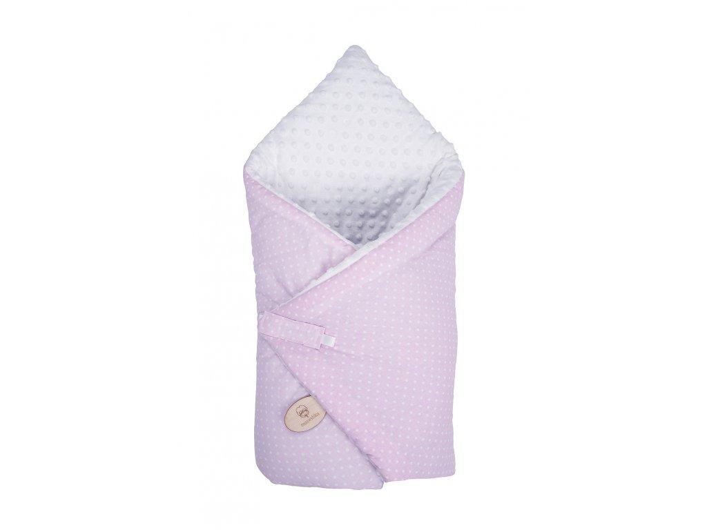 Zavinovačka Maceshka Minky bílá, puntík v růžové