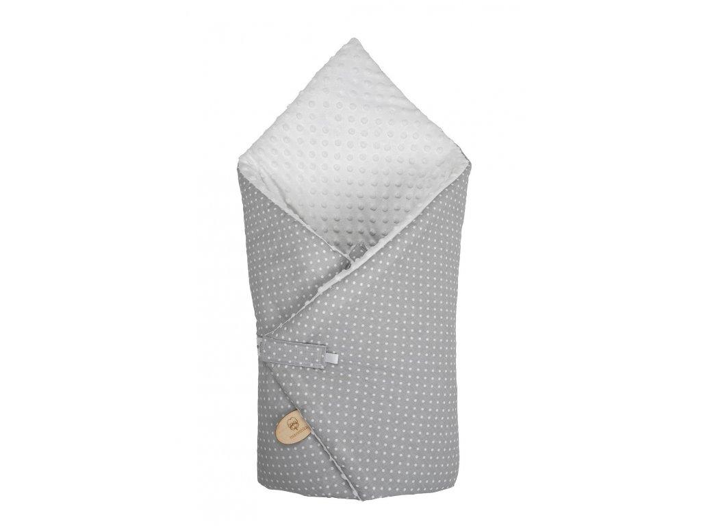 Zavinovačka Maceshka Minky bílá, puntík v šedé