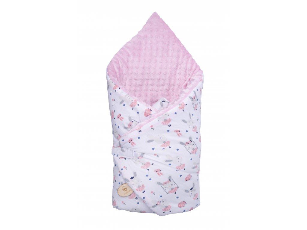Zavinovačka Maceshka Minky růžová, zajíčci baletky, bílý podklad