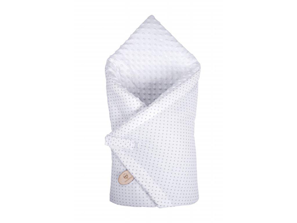 Zavinovačka Maceshka Minky bílá, šedý puntík v bílé