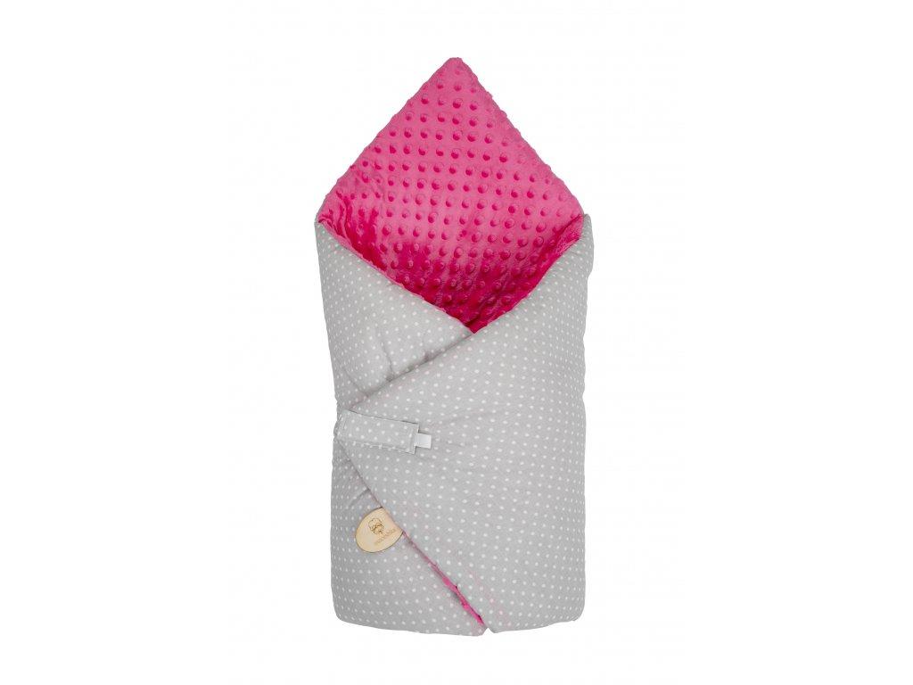 Zavinovačka Maceshka Minky tmavě růžová puntík v šedé