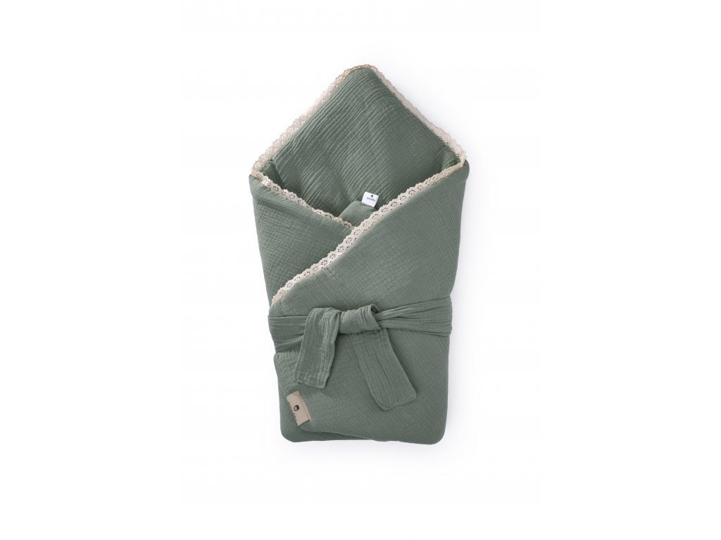 Zavinovačka Maceshka mušelín khaki s páskem, krajka