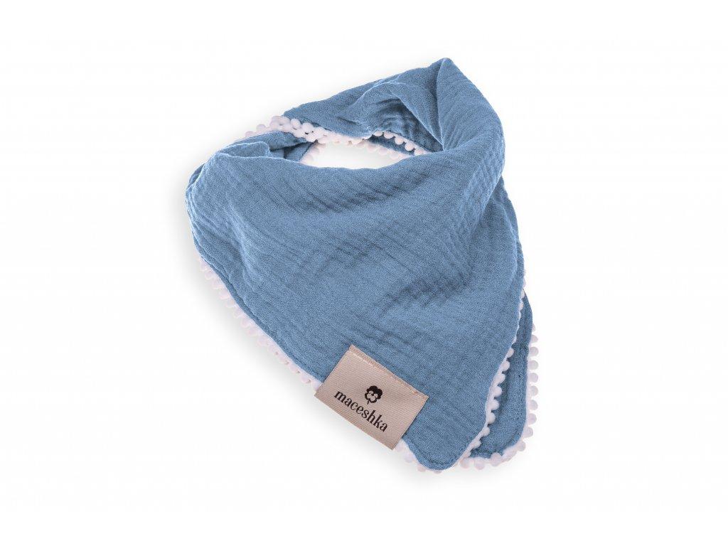 Slintáček Maceshka Nature dvojitý s ozdobným okrajem Blue Jean, pompony