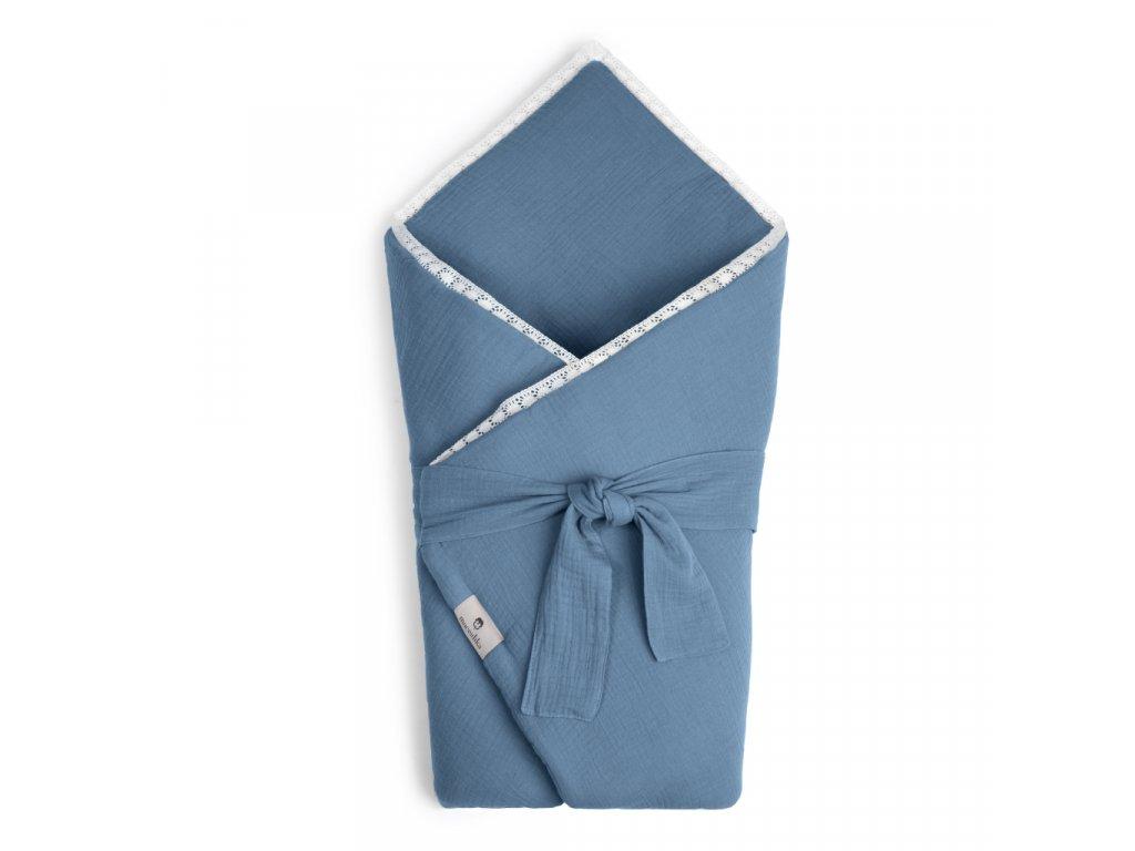 Mušelínová zavinovačka Maceshka s páskem a ozdobným okrajem blue jean, krajka