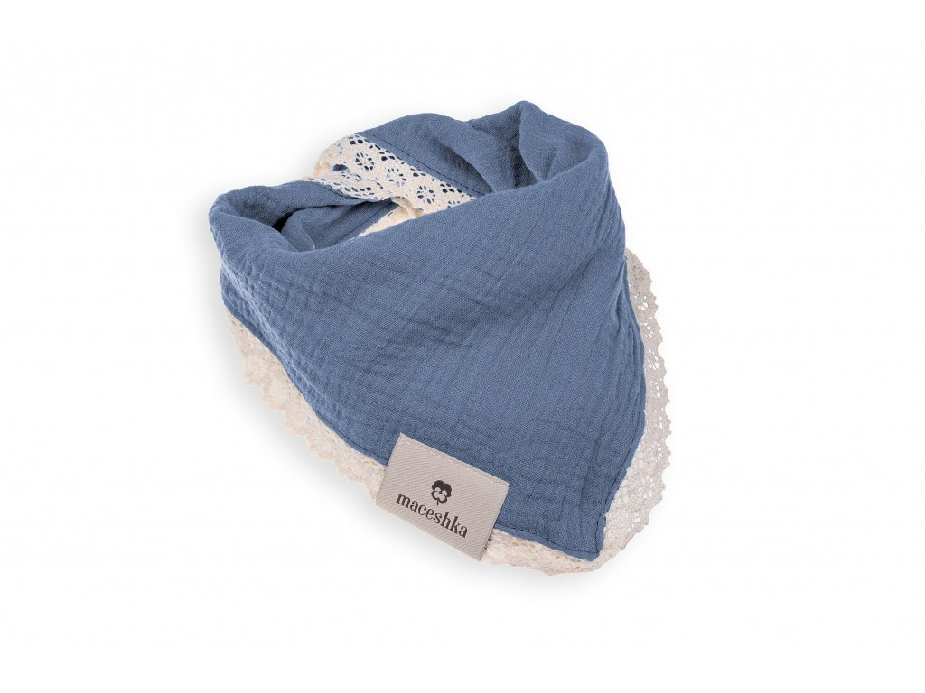 Slintáček Maceshka Nature jednoduchý s ozdobným okrajem Blue Jean, krajka
