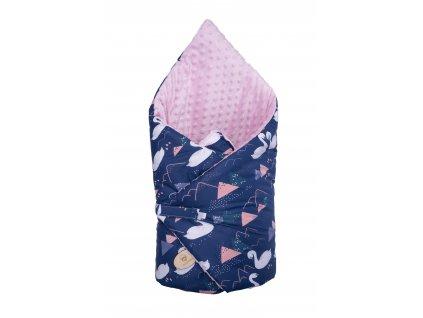Zavinovačka Maceshka Minky růžová, labutě tmavě modrá