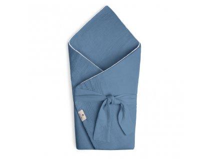Zavinovačka Maceshka mušelín blue jean s páskem, pompony