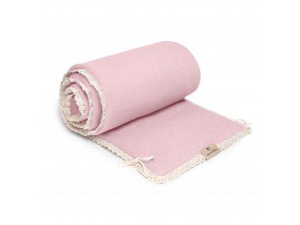 Mušelínový mantinel Maceshka Nature s ozdobným okrajem rose blush, krajka