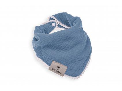 Slintáček Maceshka Nature jednoduchý s ozdobným okrajem Blue Jean, pompony