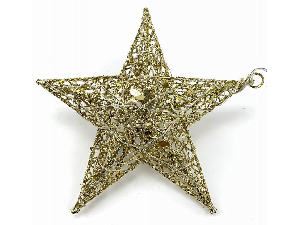 153251 1 vanocni svitici dekorace hvezda 20 cm zlata se trpytkami