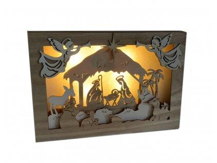 Dřevěný vánoční svítící betlém