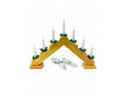 Vánoční svícen pyramida - 7 žárovek (do zásuvky) (Opicka Bílý)