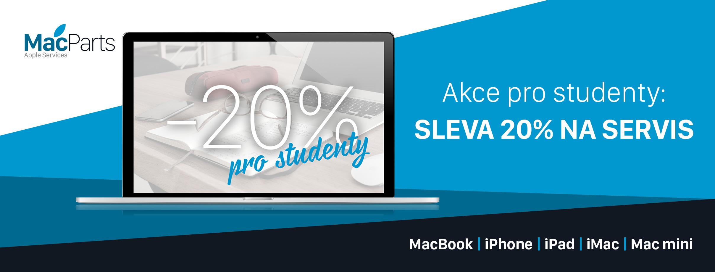 Sleva pro studenty 20% na servis zařízení Apple
