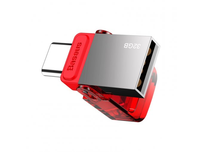 baseus red hat type c usb flash disk tarnish body red cover2