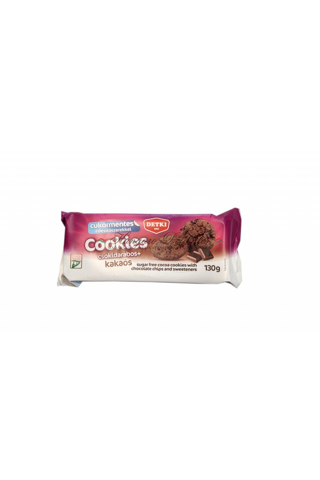 Kakaové cookies s kousky čokolády, bez cukru