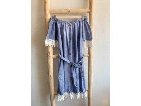 šaty s odhalenými rameny a knoflíky