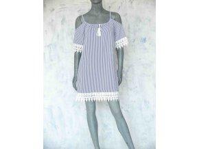 Proužkované šaty s odhalenými rameny