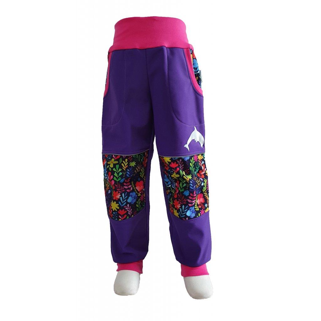 Softshellové kalhoty -  barevné kytky na fialové - K