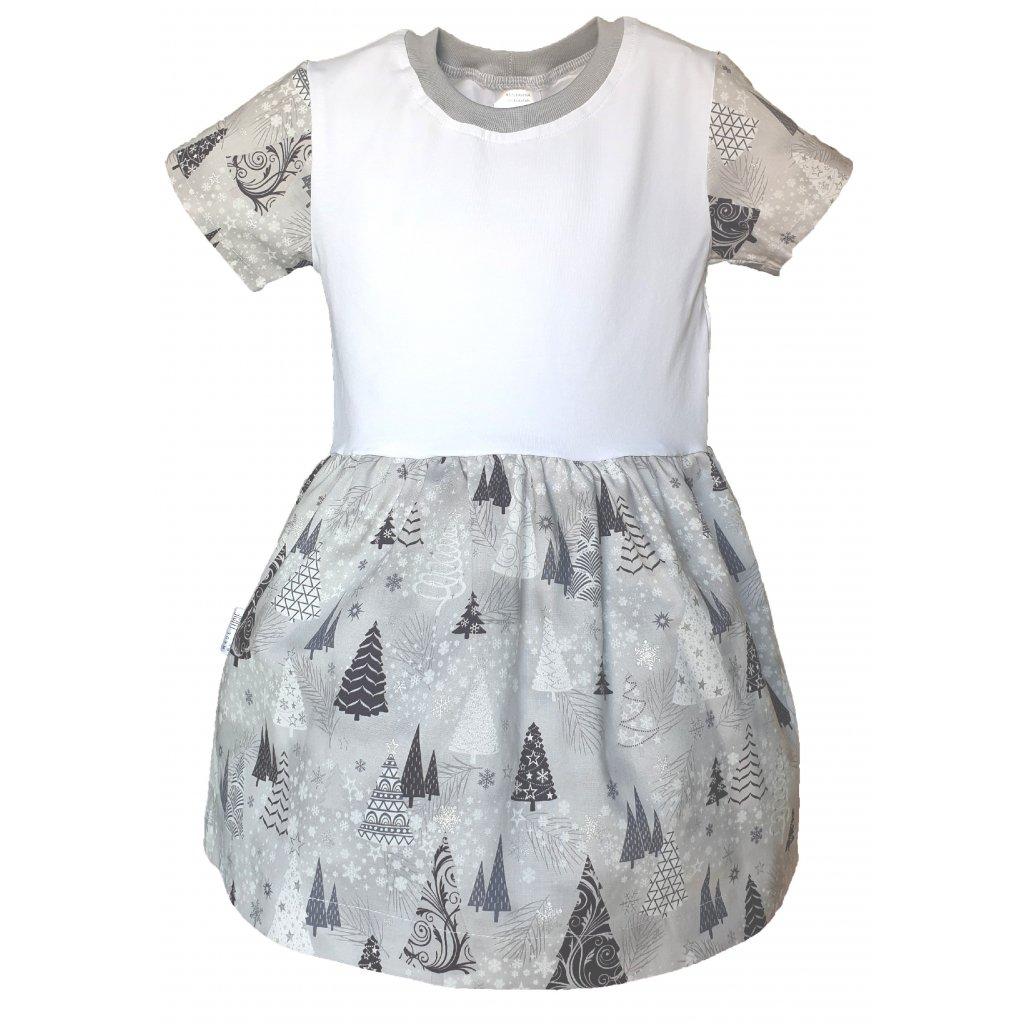 Vánoční šaty šedé stromky