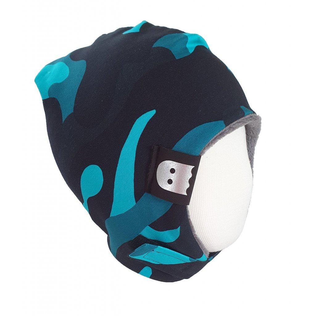 Zimní ušanka modrý maskáč