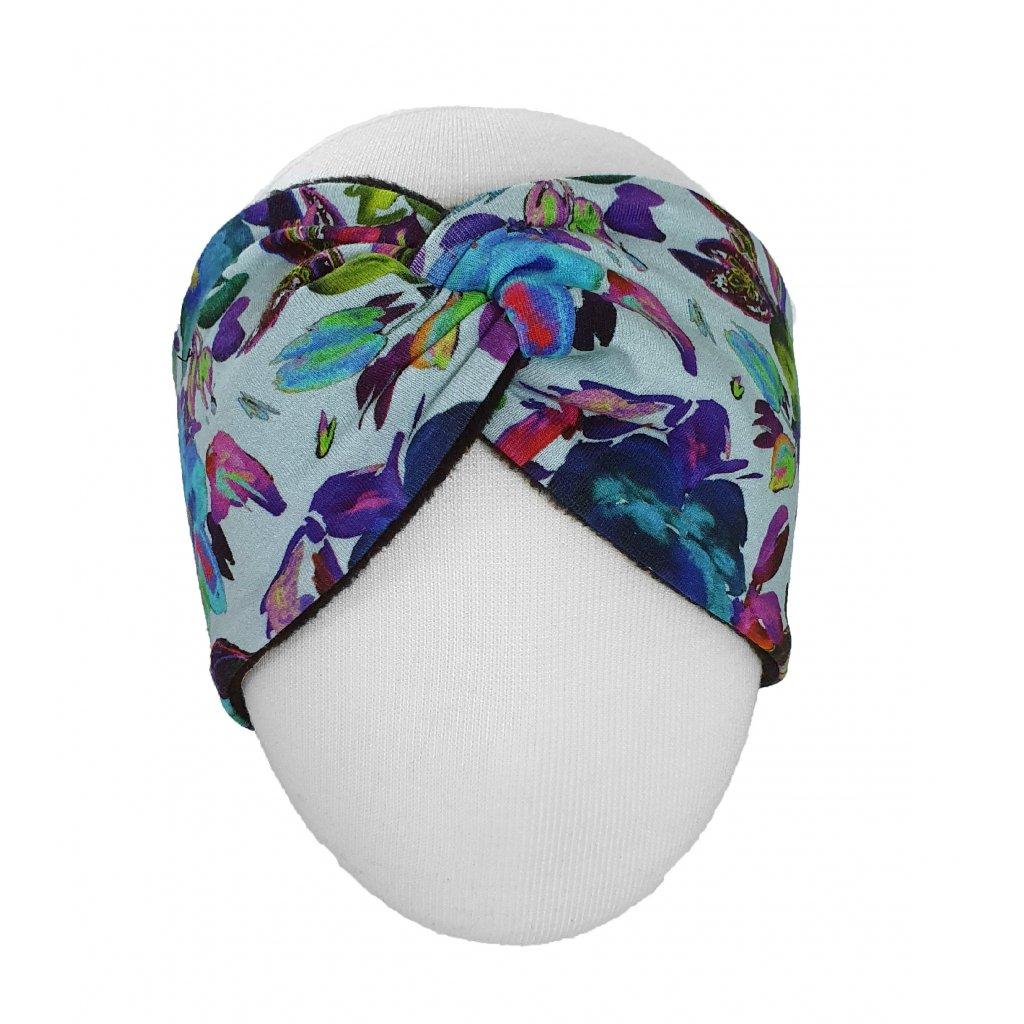 Zimní čelenka barevné květy