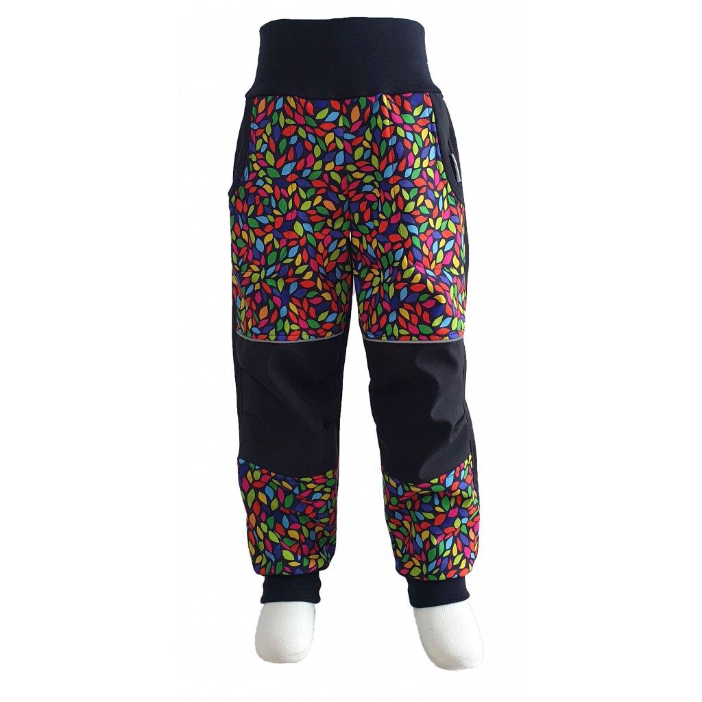 Zimní softshellové kalhoty - barevné lístečky