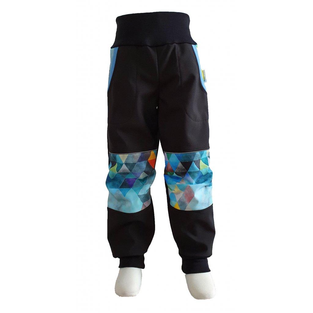 Zimní softshellové kalhoty -  modrý trojúhelník - K