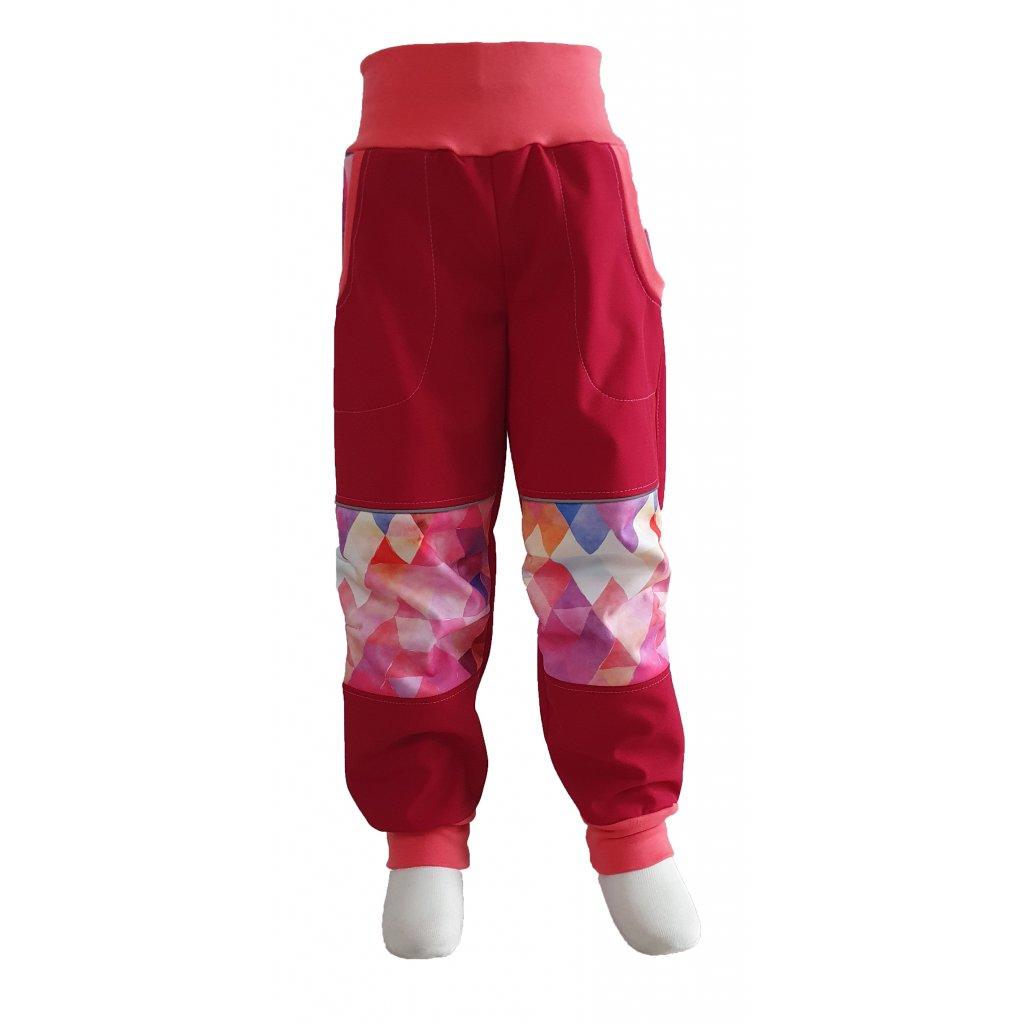 Zimní softshellové kalhoty -  růžový trojúhelník na červené - K