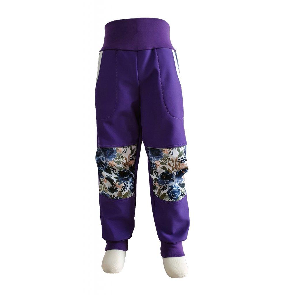 Zimní softshellové kalhoty - modré růže na fialové - K