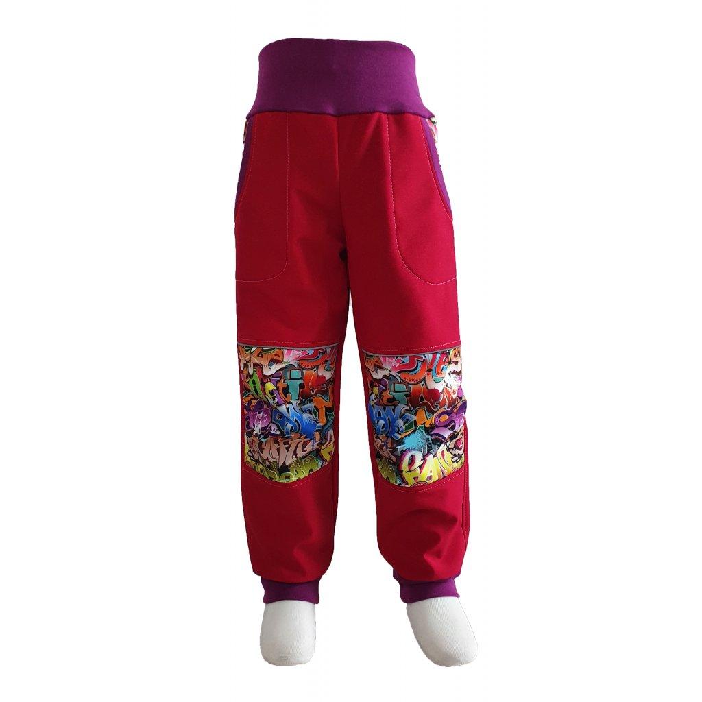 Zimní softshellové kalhoty - graffiti na červené - K