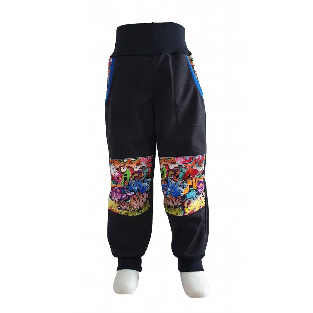 Zimní softshellové kalhoty - graffiti na černé - K